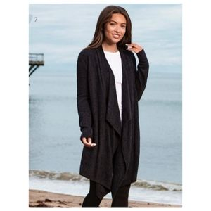Barefoot Dreams Black Waterfall Cardigan Cozy Chic